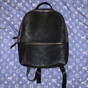 NORDSTROM Black Faux Leather Backpack